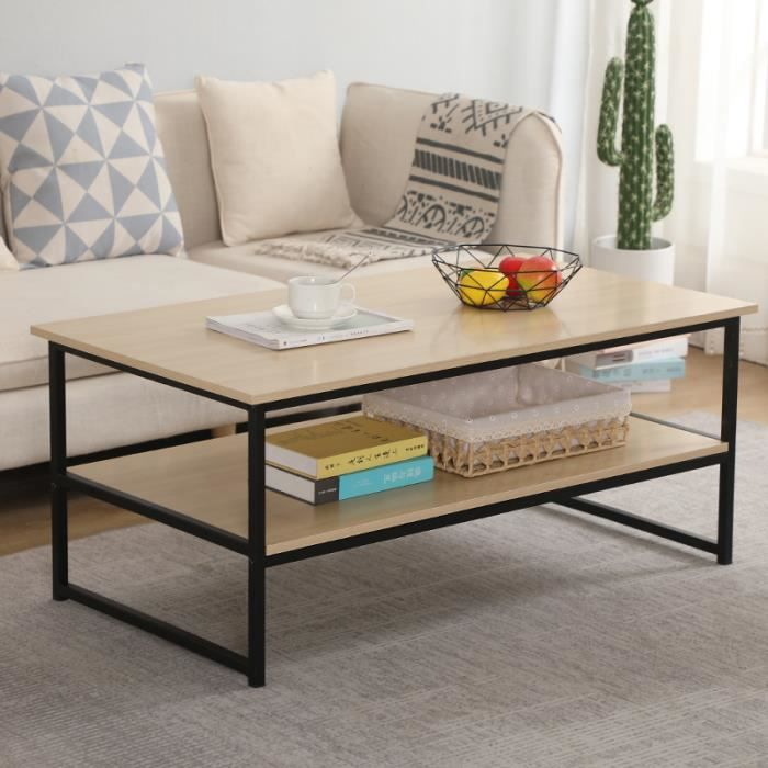 Table Basse 2 Couches Style vintage simple,étagères en Panneau Bois Marron et Métal Peint Noir avec grande surface,montage facile