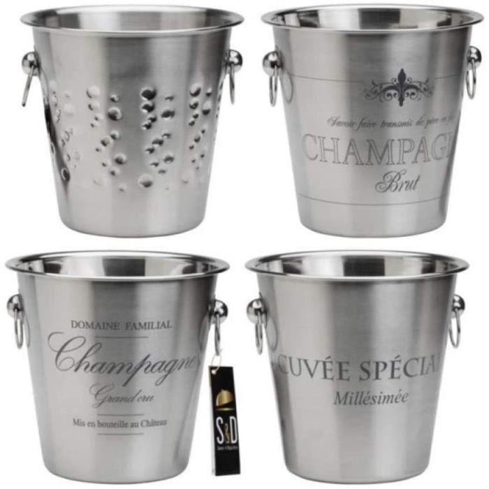 SAVEUR ET Degustation KV7014 Seau à Champagne, Acier Inoxydable, Gris, 22,4 x 22,4 x 21 cm