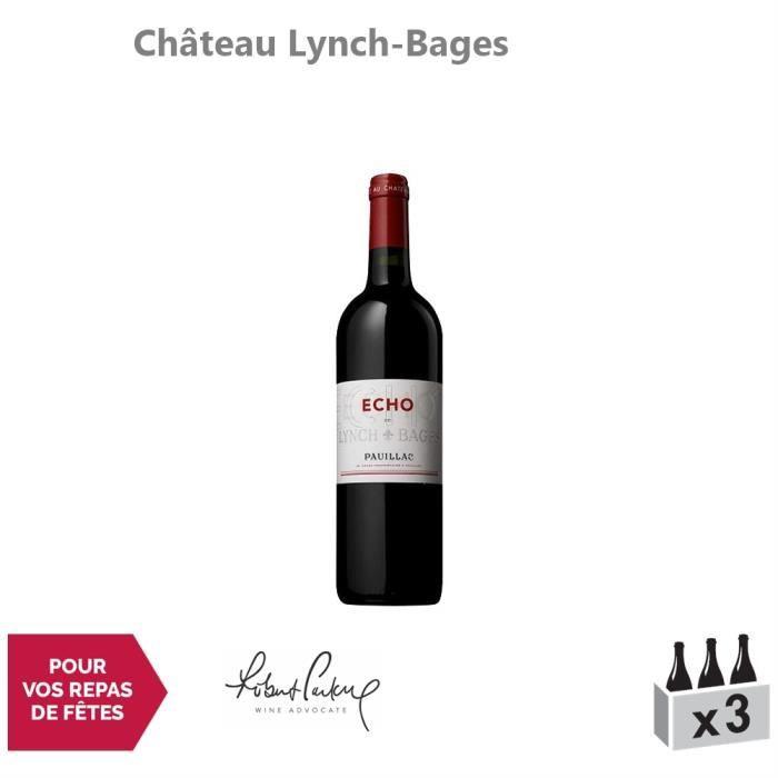 Château Lynch-Bages Echo de Lynch-Bages Rouge 2016 - Lot de 3x75cl - Appellation AOC Pauillac - Vin Rouge de Bordeaux - 16-20