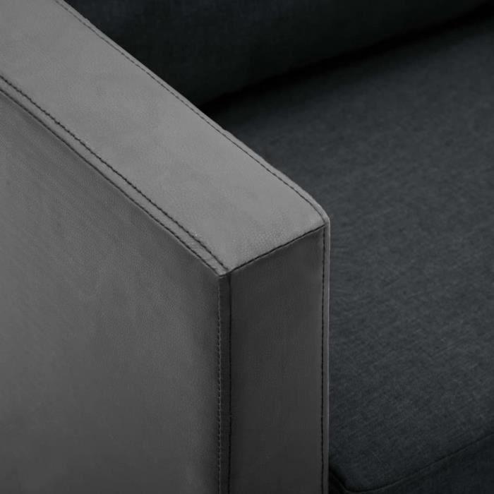 Canapé à 2 places Simili-cuir Noir et gris foncé -Noir -MOO