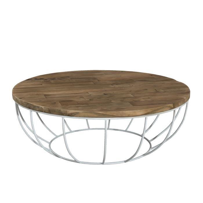 Table basse ronde style industriel en bois teck + pieds en métal et coque blanche - Ø 100 cm
