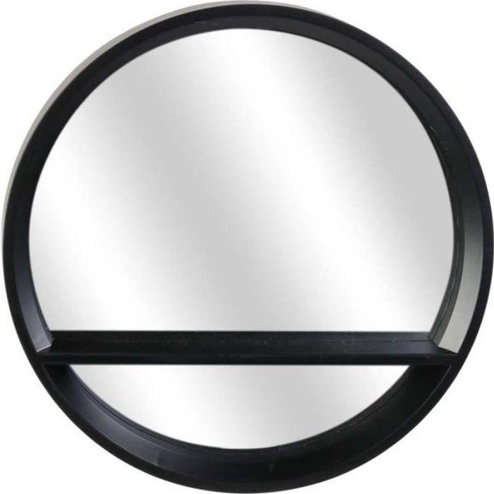 Miroir rond en plastique étagère intégrée Noir