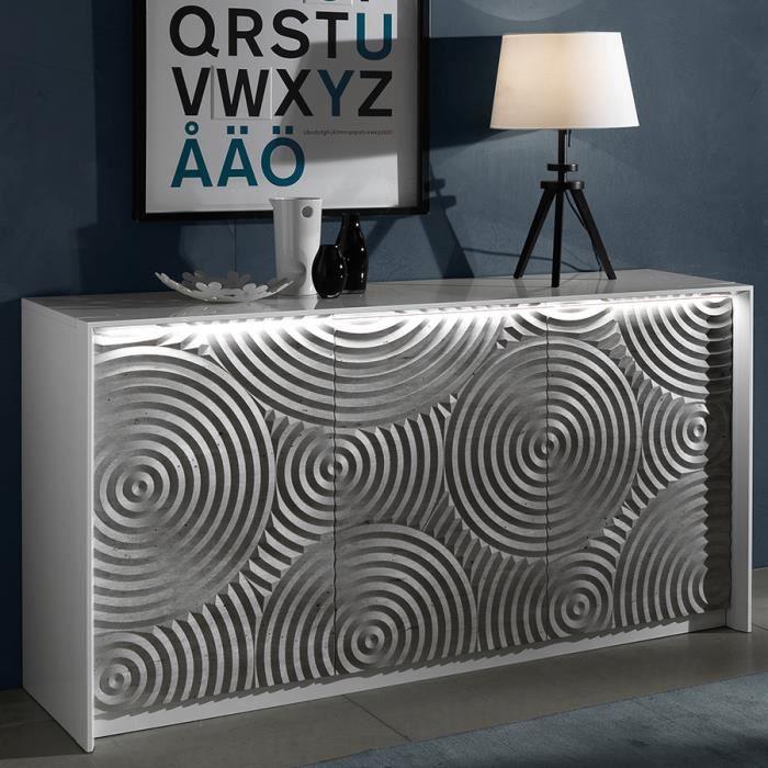 Petit buffet 150 cm blanc et gris design TORIO Blanc L 150 x P 45 x H 80 cm