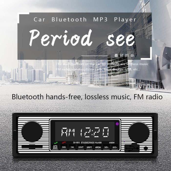 Autoradio Vintage Lecteur MP3 Stéréo USB AUX Audio classique stéréo pour voiture Argent noir