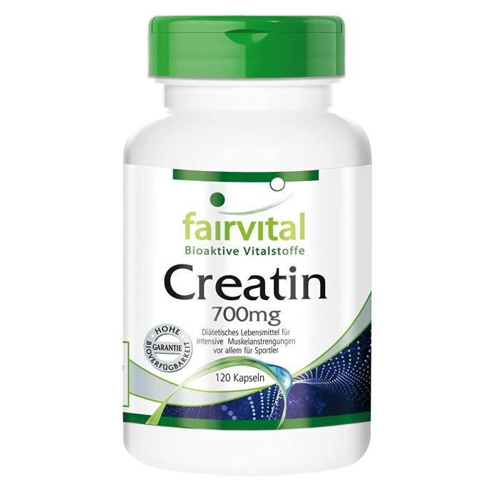 Créatine Créatine 700 mg - 24 jours - Dose élevée - 120 capsules - monohydrate de créatine en tant que substance pure sa 3689