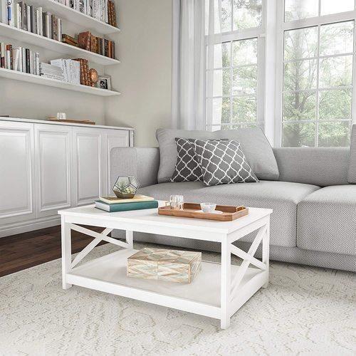 Merax Table basse de salon, Table de salon en bois, style simple, blanc, 100 x 60 x 47 cm
