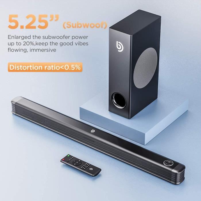 Barre de Son 2.1 canaux avec Caisson de Basses sans Fil, Barre de Son 150 W pour TV, Basses Profondes, système de Son Surround 130 D