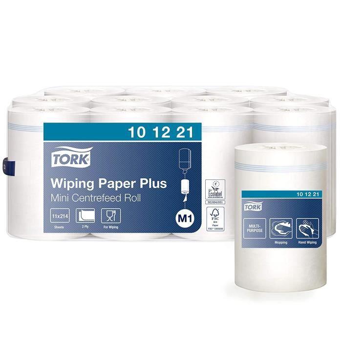 Tork 101221 Papier d'essuyage avec mini bobine à D&eacutevidage Central M1 - Compatible avec le mini distributeur M1 [81]