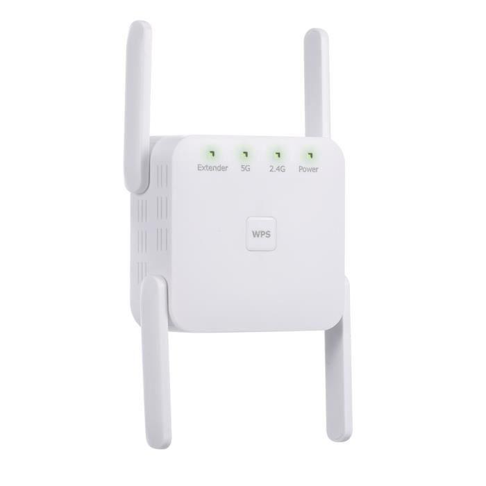 1200Mbps 2.4G 5G répéteur WiFi double fréquence WiFi Extender amplificateur de Signal sans fil blanc