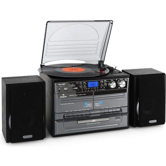 auna Chaîne HiFi complète avec platine vinyle, double deck K7 , lecteur CD, radio FM et fonction enregistrement numérique USB MP3 SD