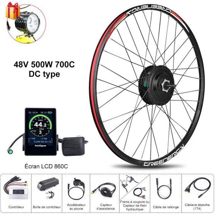 BAFANG 8FUN Kit de Moteur roue avant 48V 500W 700C avec Écran LCD 860C pour Vélo à assistance électrique