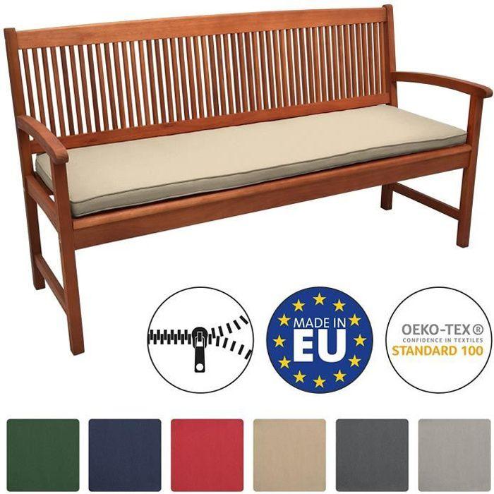 Beautissu Coussin Banc Banquette Loft BK 100x48x5 cm - Nature - Jardin Terrasse Balcon Extérieur - Haute qualité
