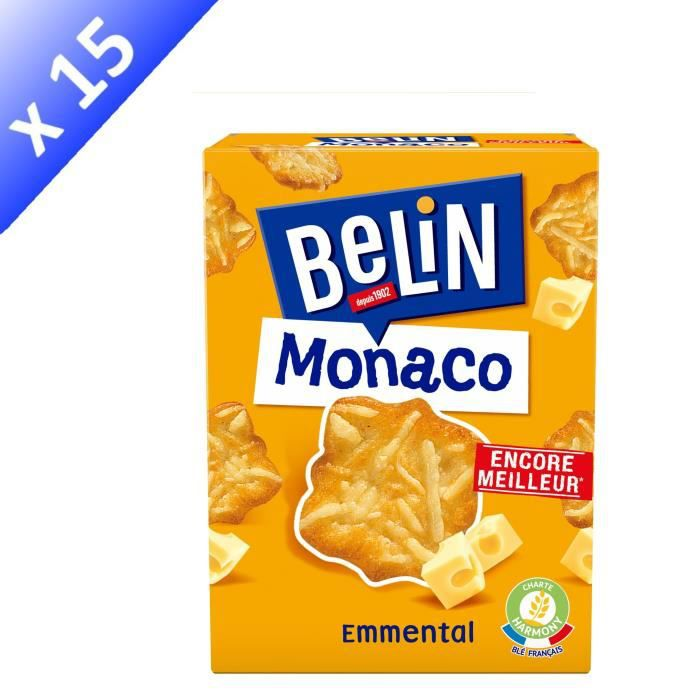 [LOT DE 15] BELIN Crackers Monaco Emmental 100g