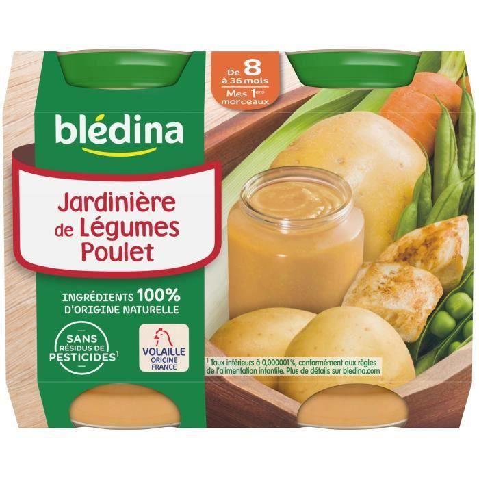 BLEDINA Petits pots Jardinière de légumes poulet - 2x200 g - Dès 8 mois (Lot de 3)