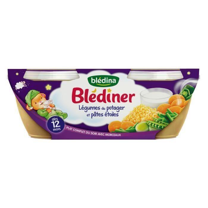 [LOT DE 3] BLEDINA Blédîner Légumes du potager et pâtes étoiles - 2x200 g - Dès 12 mois