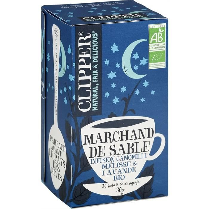 CLIPPER® Marchand de sable Infusion camomille mélisse et lavande bio - 20 Sachets