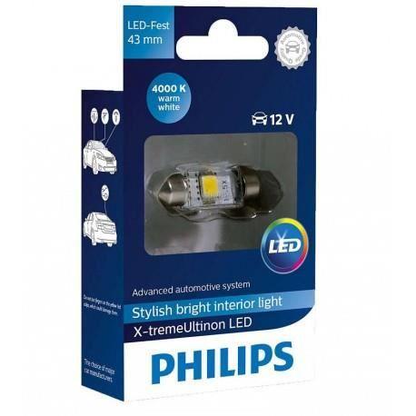 1x navette Philips 10.5x43 LED X-Treme Ultinon 4000K 12V C10W