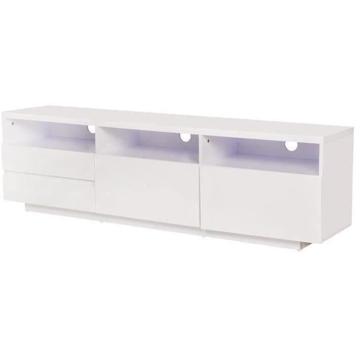 Meuble TV laqué avec luminaire LED inclus - 2 portes et 2 tiroirs - Blanc brillant - L 165 cm - LUX
