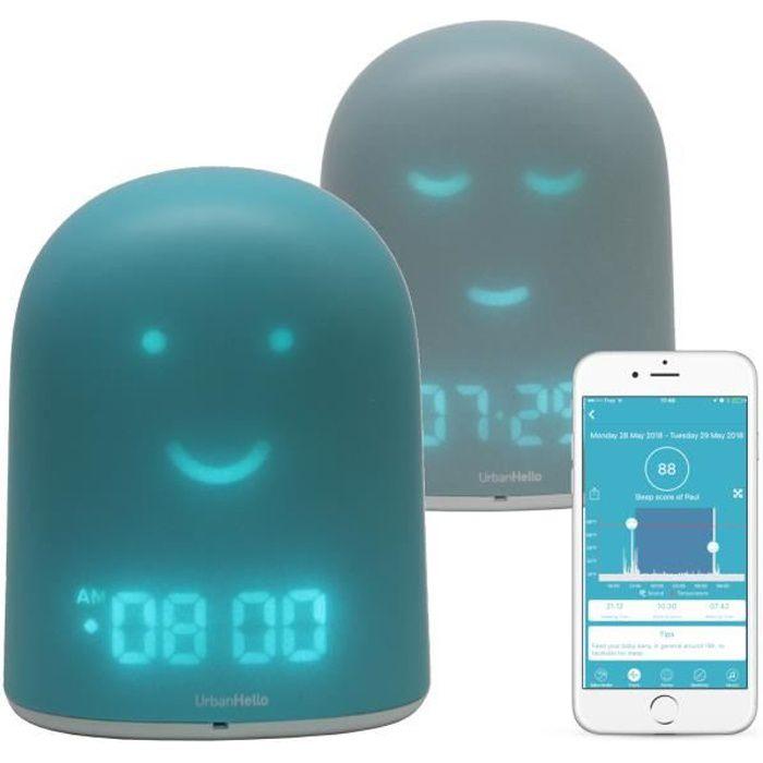 REMI - Réveil Jour Nuit Enfant - Bleu - Suivi du Sommeil - Babyphone Audio - Veilleuse & Enceinte Bluetooth