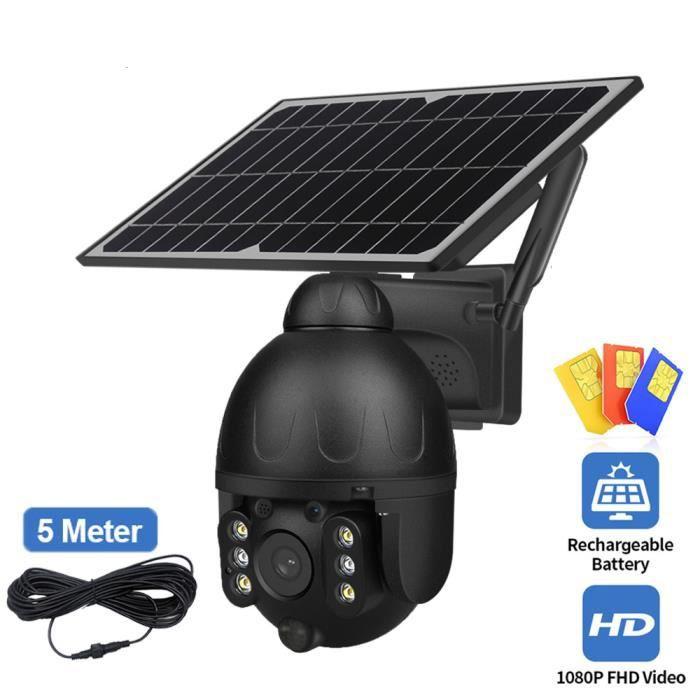 Solaire PTZ caméra extérieure 4G carte SIM 2MP détachable 9W panneau solaire batterie Cam détection de mouvement moniteur de sécurit