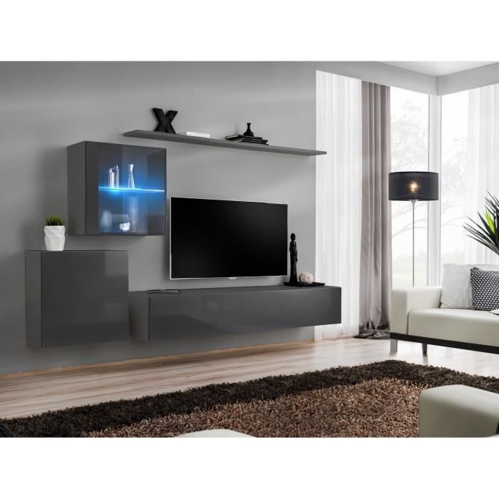 Ensemble meuble salon mural SWITCH XV design, coloris gris brillant. 40 Gris