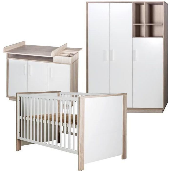 ROBA Ensemble de chambre -Olaf-, incl. lit bébé 70x140 cm, commode à langer et armoire à 3 portes