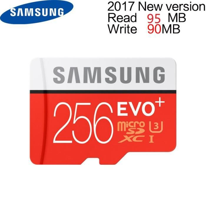 Samsung 256Go MAX lecture 100 Mo/S écriture 90 Mo/S Mémoire Micro SD SDXC 256G Carte EVO PLUS C10 TF Cartes U3 Flash avec adaptat...
