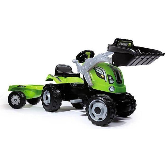 SMOBY Tracteur à pédales Farmer Max + Remorque