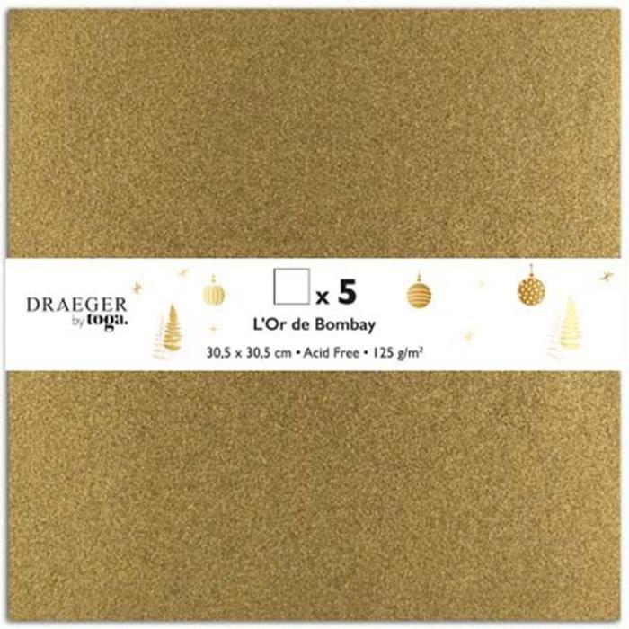 Papier Scrapbooking Toga - Doré pailleté - 30,5 x 30,5 cm - 5 pcs