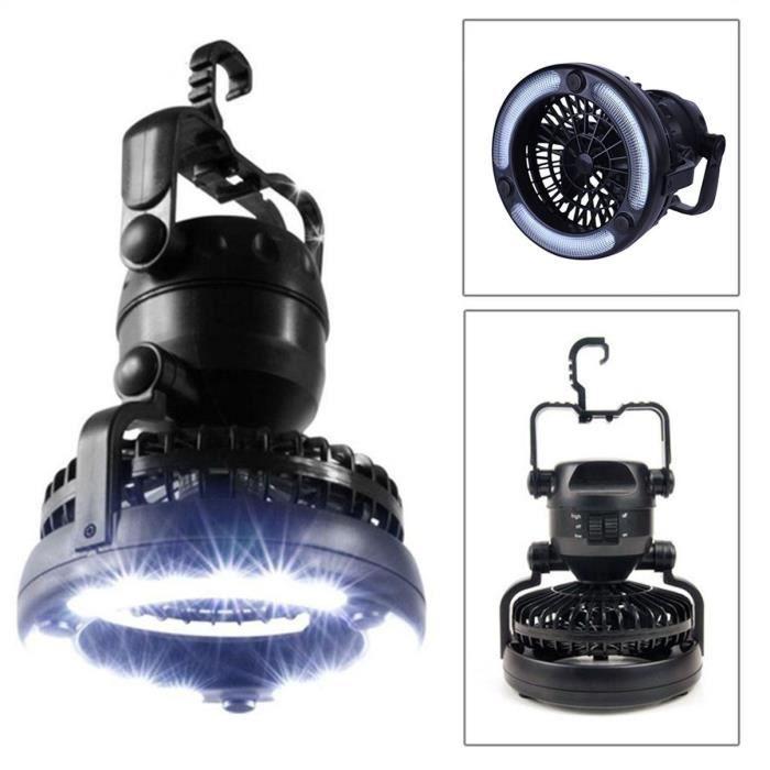 2-en-1 18 LED Camping Lumière lanterne avec ventilateur de plafond randonnée en plein air lampe de poche extérieure haut brillant éc
