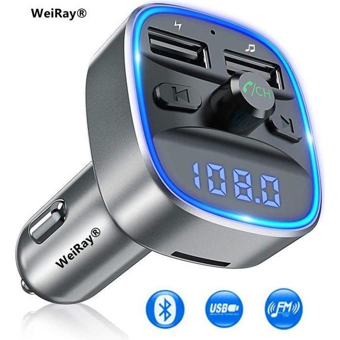 Transmetteur FM Bluetooth, Kit Voiture Émetteur FM sans Fil Adaptateur Radio Lecteur MP3 Dual USB Ports 5V/2.4A Soutien Carte SD