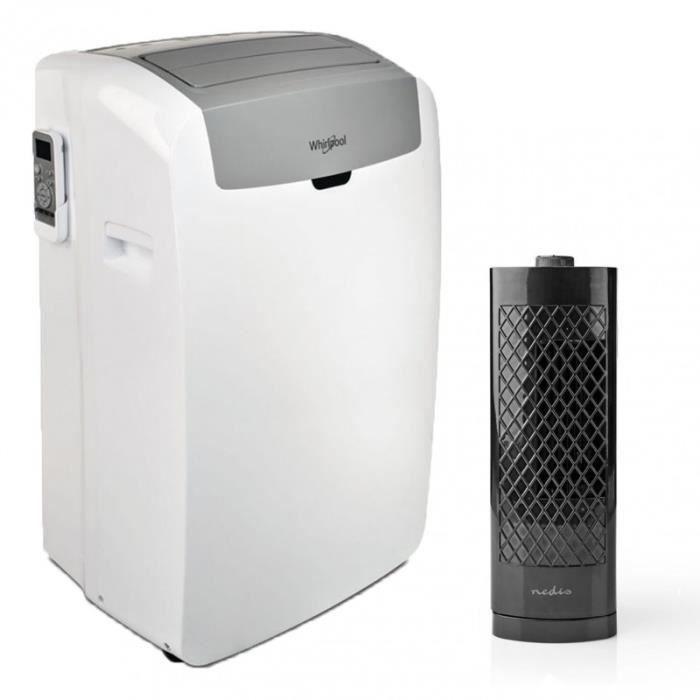 WHIRLPOOL Climatiseur mobile monobloc pour surface 25m2 + Ventilateur Colonne de Bureau