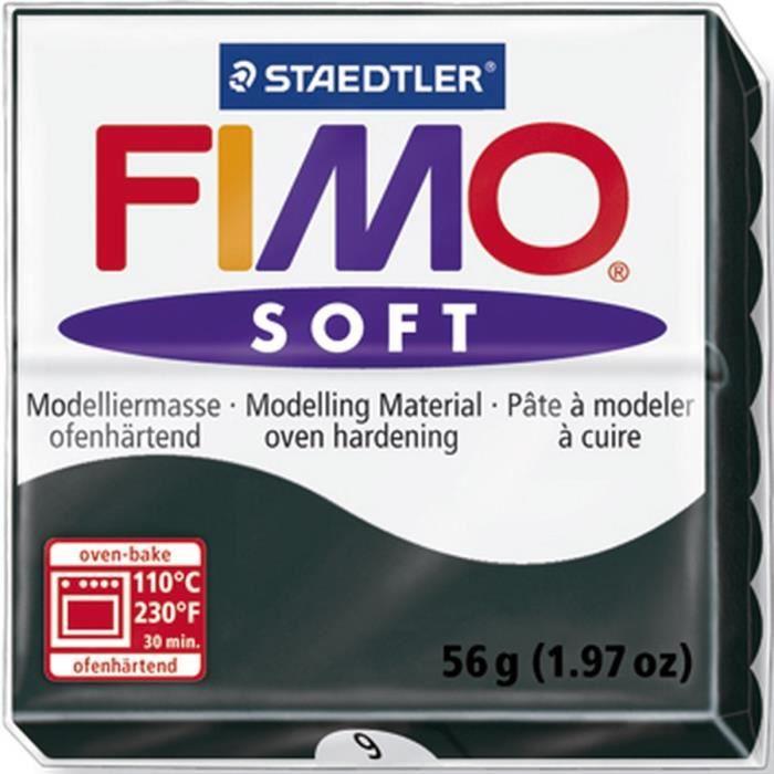 STAEDTLER Pâte à modeler à cuire Fimo Soft bloc 56 g noir