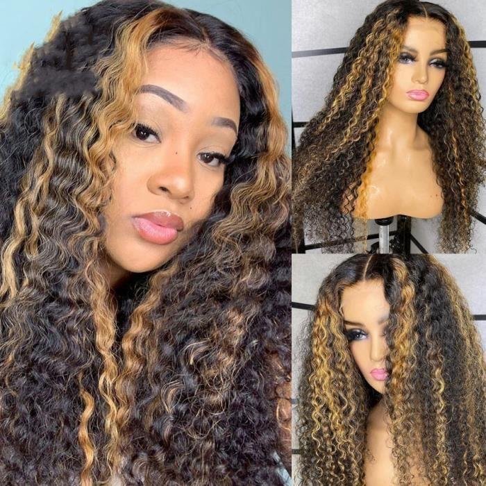 14- perruque Lace 13*4 bouclée Blonde miel cheveux humains Deep Wave naissance des cheveux