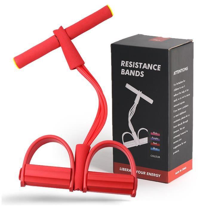 Corde de Tension Multifonctionnelle - Sit-Up Bodybuilding Expander, 4 Tube Jambe Exerciseur - Avec coffret cadeau(Rouge)