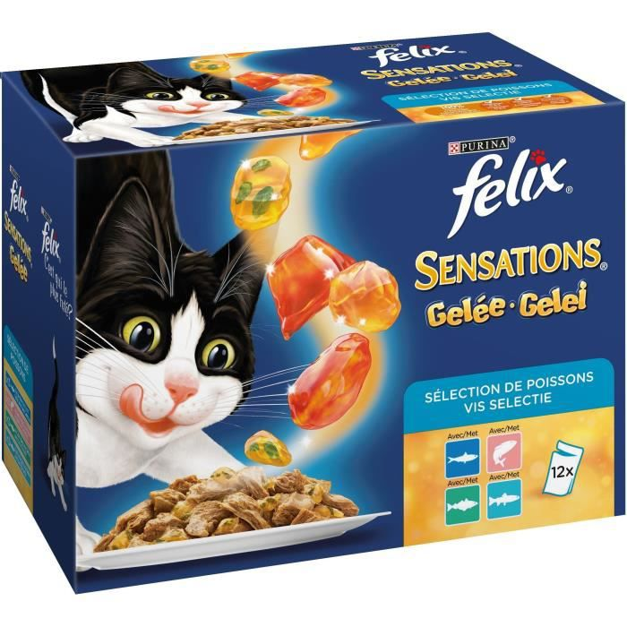 FELIX Sensations en gelée - Poissons saumon, truite, sardine et colin - Pour chat adulte - 12 x 100 g