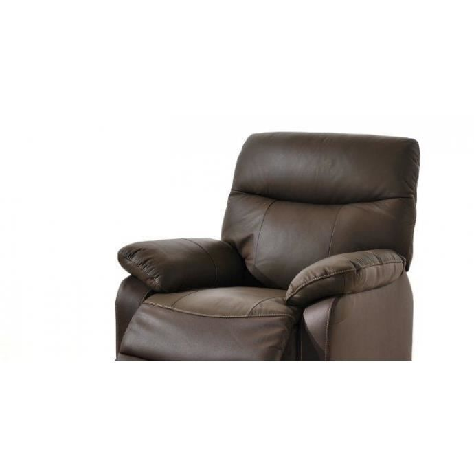 suzy fauteuil relax lectrique en cuir marron achat. Black Bedroom Furniture Sets. Home Design Ideas