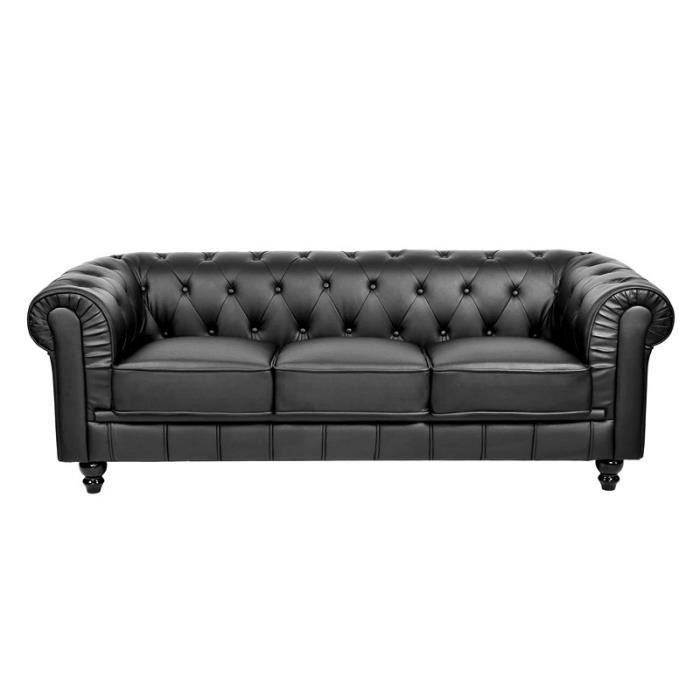 Canap 3 places noir chesterfield achat vente canap sofa divan cdi - Canape noir 3 places ...