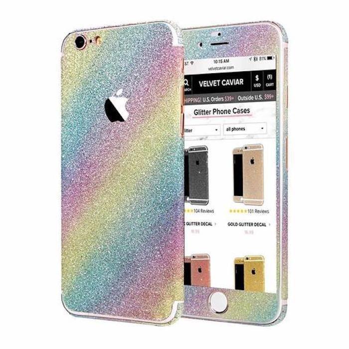 sticker iphone 6 6s plus 5 5 arc en ciel paillet