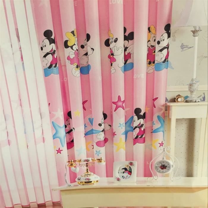 rideau illets occultant rose mickey minnie enfant. Black Bedroom Furniture Sets. Home Design Ideas