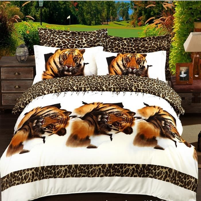 housse de couette adulte de marque bed linen draps 3d tiger linge de lit animal rose reine des. Black Bedroom Furniture Sets. Home Design Ideas