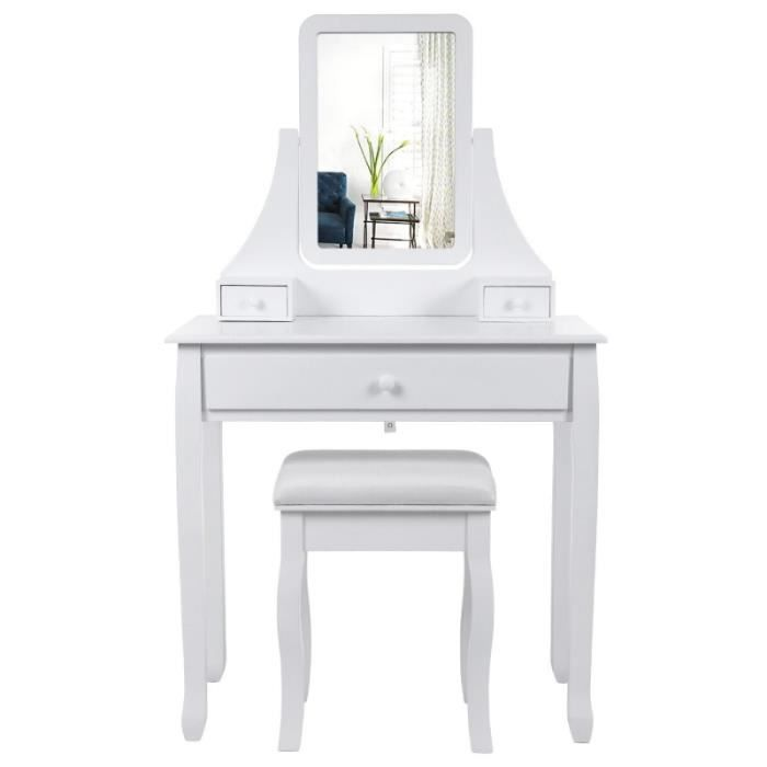 coiffeuse bois avec grand miroir et 3 tiroirs et tabouret table maquillage blanc 1412020 achat. Black Bedroom Furniture Sets. Home Design Ideas