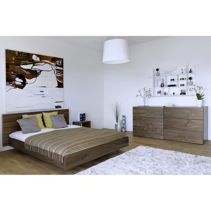 lit design effet suspendu flo noyer noyer 160x200 cm. Black Bedroom Furniture Sets. Home Design Ideas