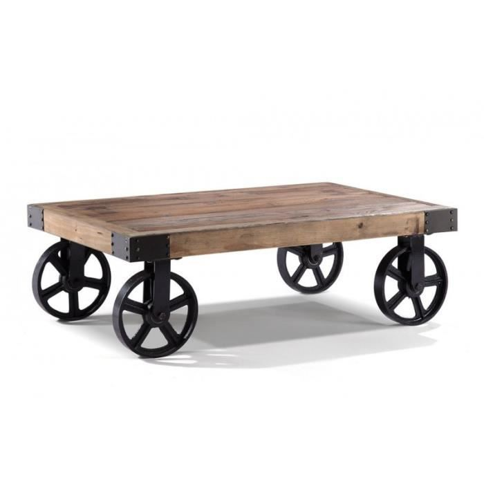 Table Basse A Roulettes Style Industriel Heritage Achat
