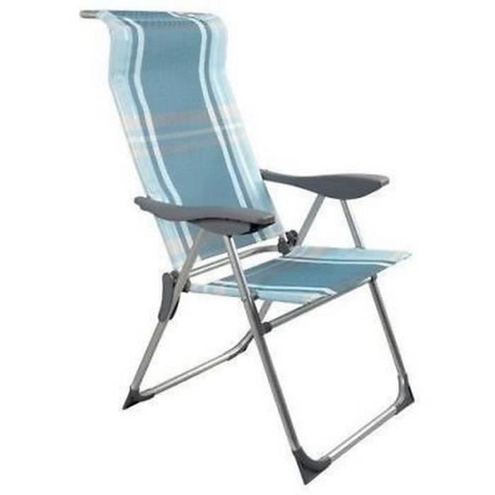 Rayures Camping Chaise Relax Bleue Exterieur Plage Fauteuil Jardin OPnk80w