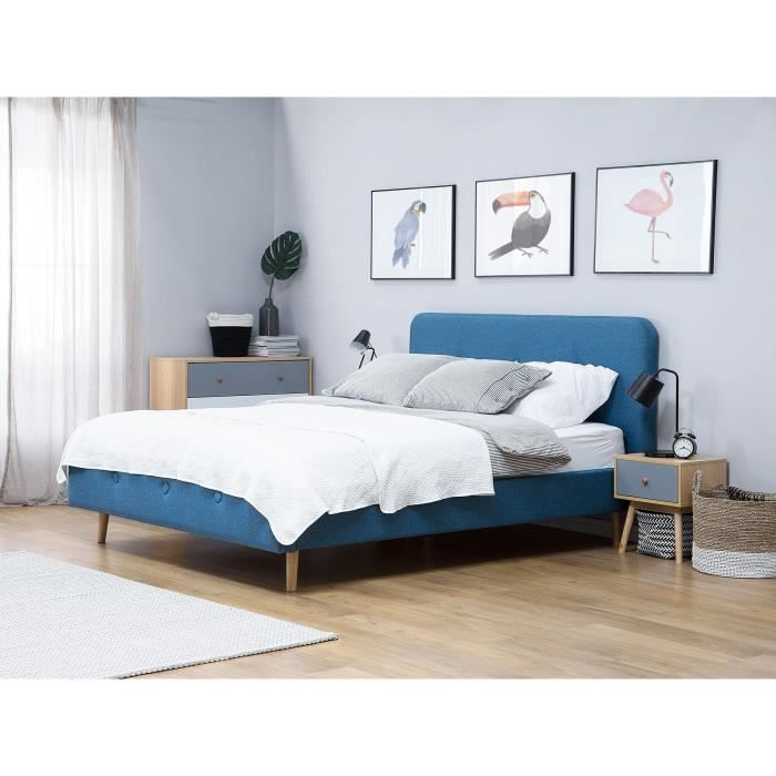 lit en tissu lit double 140x200 cm bleu fonc sommier inclus rennes achat vente lit. Black Bedroom Furniture Sets. Home Design Ideas