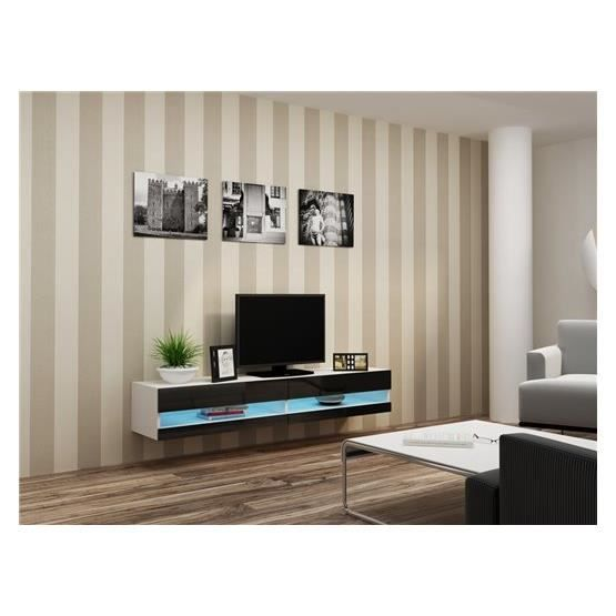 meuble tv design suspendu larmo new blanc et noir achat. Black Bedroom Furniture Sets. Home Design Ideas