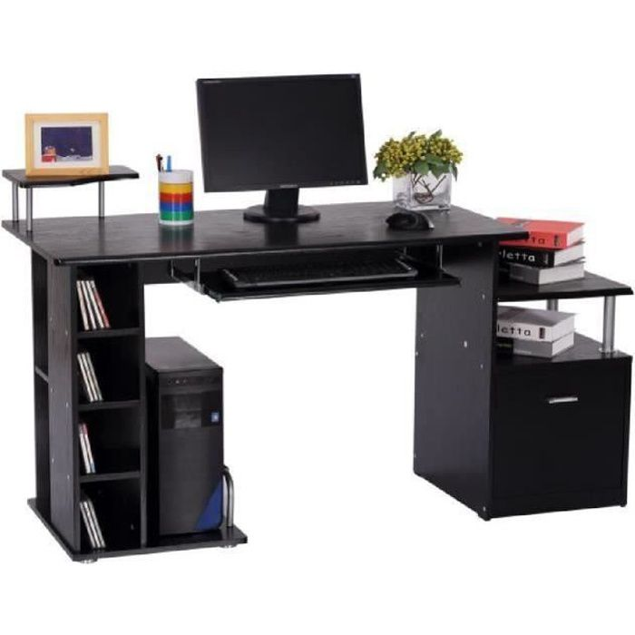 Bureau pour ordinateur table meuble pc informatique en mdf for Meuble informatique