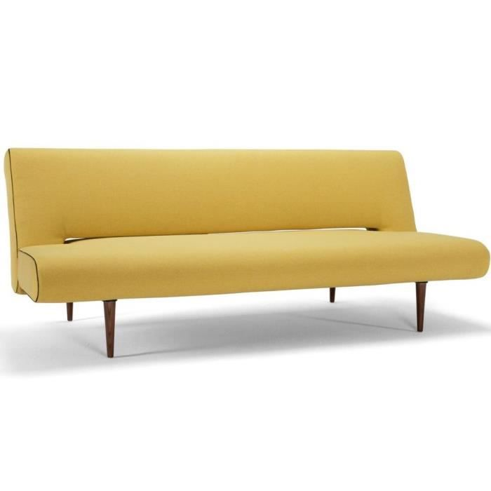 Canape design unfurl jaune convertible lit par innovation for Canape lit design