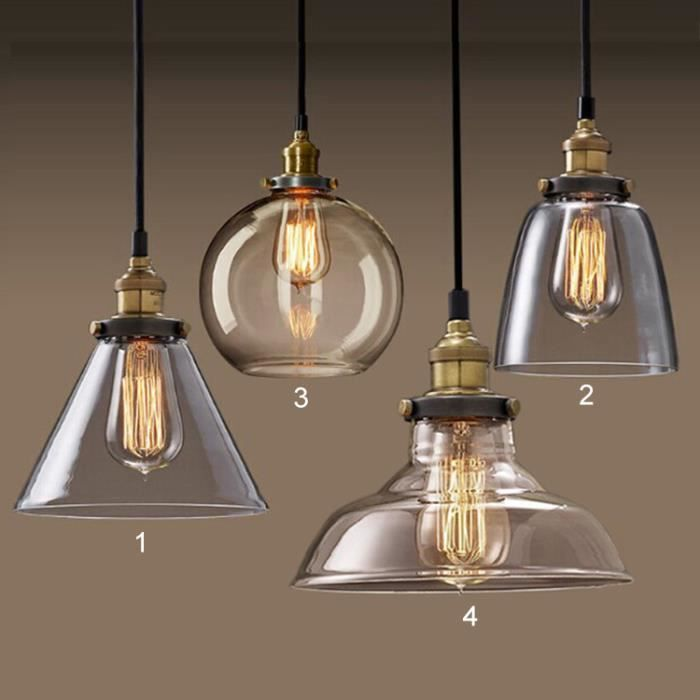 Suspension r tro lustre verre vintage plafonnier moderne for Grande suspension luminaire